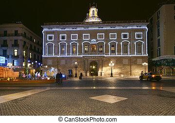 catalogne, palais, gouvernement, la, de, (palau, barcelone, nuit, generalitat), espagne