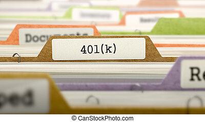 catalogue, dossier, marqué, 401k.