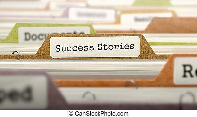 catalogue, dossier, stories., marqué, reussite