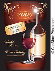 catalogue, flayer, fond, vin