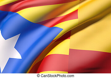 catalonia and spain flag - 3d rendering of a catalonia and ...