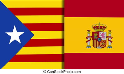 Catalonia And Spain Flags - Mix of Two Realistic Waving...