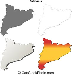Catalonia blank detailed outline map set