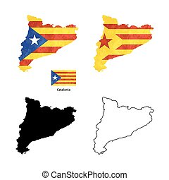 Catalonia country black silhouette and with flag on background, isolated on white