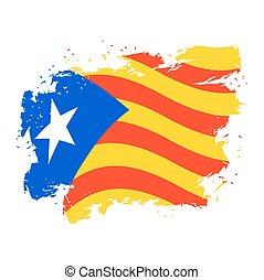 Catalonia flag grunge style. Brush and drops. Estelada Blava...