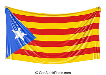 Catalonia flag hanging on the wall, 3D rendering