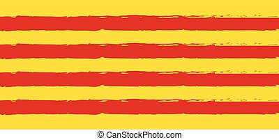 Catalonia Flag red stripes on yellow background