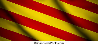 Catalonia - High detailed waving flag of different countries...