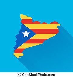 Catalonia map silhouette with flag, flat illustration with...