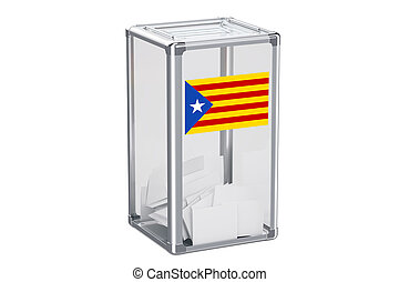 Catalonia referendum concept, ballot box with Catalonian flag. 3D rendering