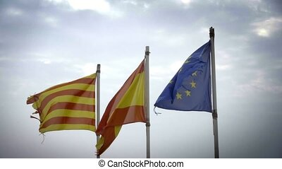 Catalonia, Spain and European Union shredded flags. Suitable...