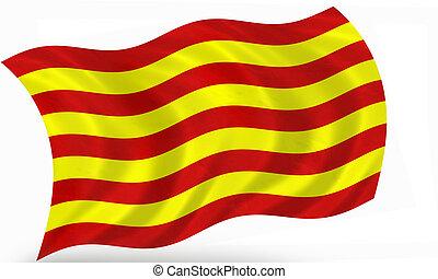 Catalonia (Spain) flag 3D