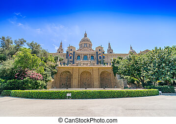 Catalonian national museum MNAC on Montjuic mountain in Barcelona