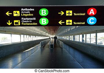 cataluña, direccional, barcelona, señal, aeropuerto., ...
