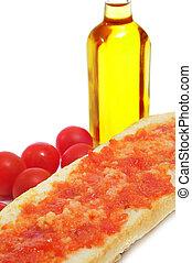 Cataluña, tomaquet, amb, papá, tomate, bread, españa, típico...