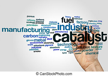 Catalyst word cloud concept on grey background