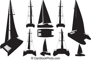 catamarán, barco, siluetas