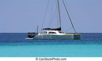 Catamaran - A colorful catamaran in Zanzibar on a sunny day