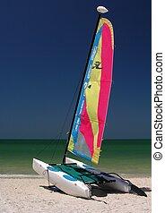 Catamaran - A colorful catamaran on the beach...