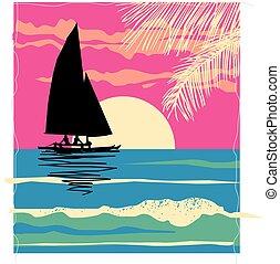 Catamaran afternoon - sun reflected catamaran in tropical ...