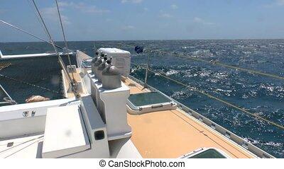 Catamaran and Big Waves of  Caribbean Sea, Cuba