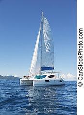 Catamaran at sea - Image of a catamaran at sea with the ...