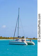 Catamaran at the tropical beach of Cuba