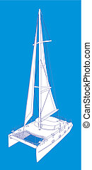 Catamaran Boat Drawing Like Paint - Catamaran Boat Vector...