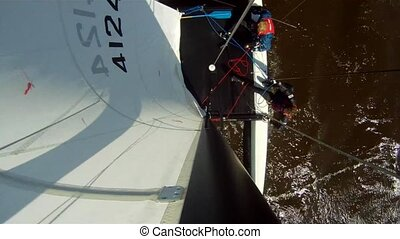 Catamaran capsizing - When one of the crew washes overboard,...