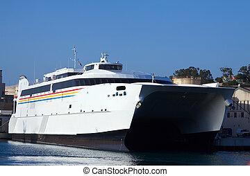catamaran ferry - Big catamaran ferry at mediterranean port...