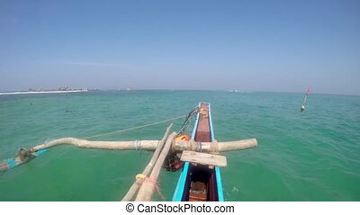 Catamaran fishing wooden boat with rowing control rower...