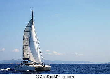 Catamaran in regatta - Photo taked during the Route of the ...