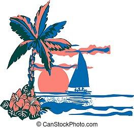 Catamaran In The Sun - soft vector drawing of catamaran ...