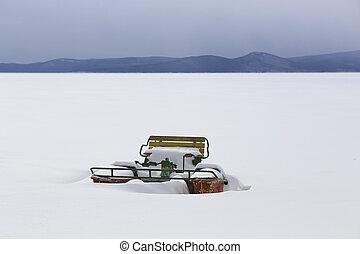 catamaran in the winter on the snow coast
