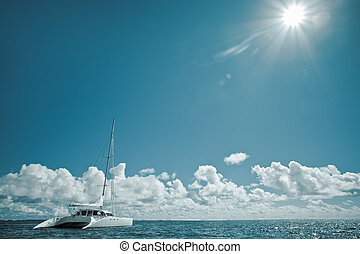 Catamaran on calm green shallow waters - sailboat on the ...