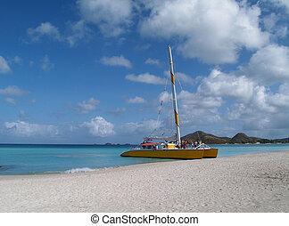 Catamaran on Jolly Beach, Antigua - Catamaran at Jolly beach...