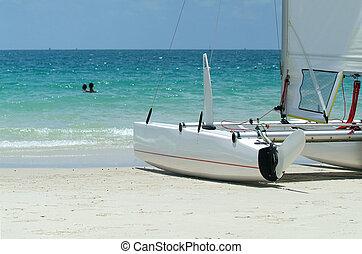 Catamaran on the beach - Detail of catamaran sailboat on a ...