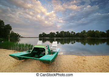 Catamaran on the shore