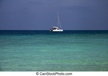Catamaran anchored off an island.