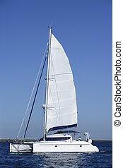 Catamaran sailboat sailing blue ocean water on summer day