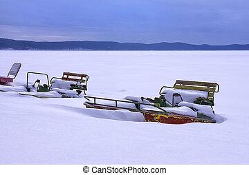 catamaran standing on snow
