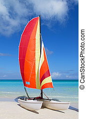 Catamaran with its colorful sails wide open on Cuban white sandy