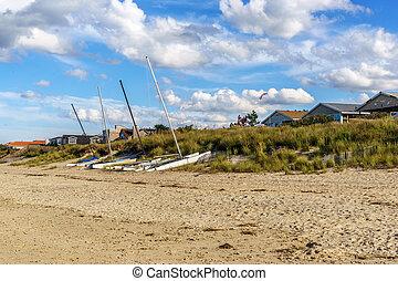 catamarans, képben látható, a, dunes.