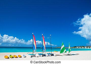 Catamarans on tropical beach