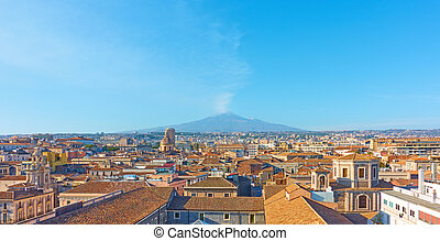 Catania and Mount Etna - Panorama of the old town of Catania...