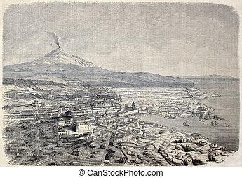 Catania - Antique illustration shows aerial view of Catania,...