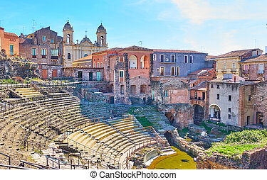 Catania in Sicily - Cityscape of Catania with ancient Roman...