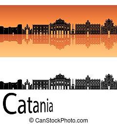 catania, laranja, skyline, fundo