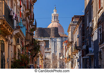 Catania. Old Town Street. - View of the old city street in...