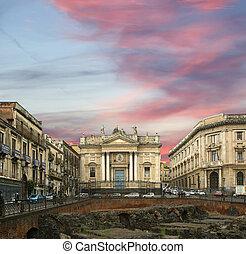 Catania Roman Amphitheatre, Sicily, southern Italy